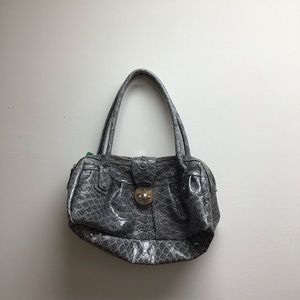 Guess grey/silver snake animal print purse